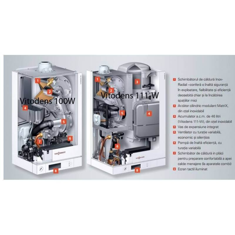 Poza Centrala termica in condensare cu touchscreen Viessmann Vitodens 100-W 19 kW B1HC177 numai incalzire. Poza 4620