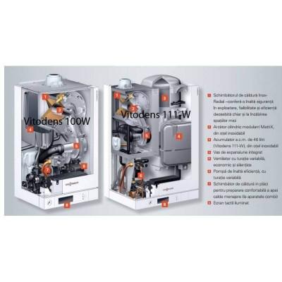 Poza Centrala termica in condensare cu touchscreen Viessmann Vitodens 100-W 26 kw B1HC178 numai incalzire. Poza 4614